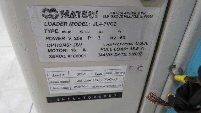Matsui Used JL4-7VC2 Dual Port Jet Loader, 6.1hp, 460V, Yr. 2007
