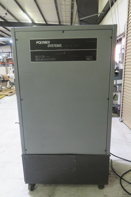 """Polymer Systems Used 68 SIL Granulator, 8""""x 6"""" with robot feed chute, 5hp, 460V"""