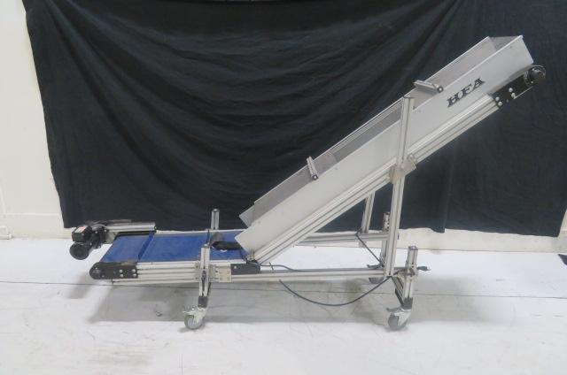 "HFA Used 2230 Horizontal to Incline Conveyor, 10"" Wide Belt, Variable Speed, 115V"