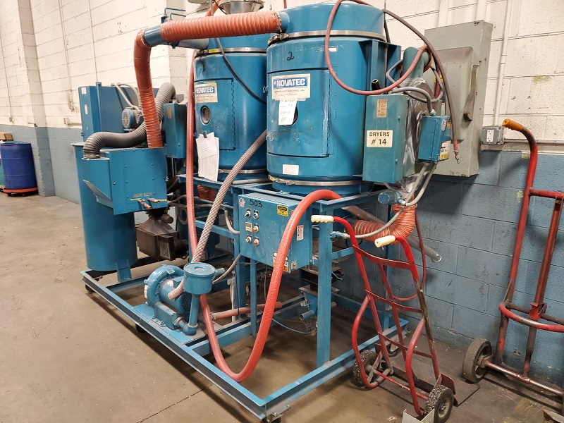 Novatec Used MPC-150 Material Dryer and TWO (2) Hoppers, 300 lb each, Desiccant, Yr. 2003