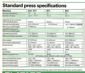 Press specifications