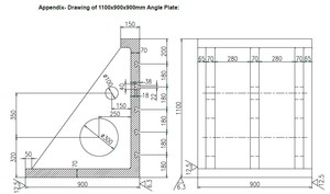 Drawing of 1100x900x900 angle plate