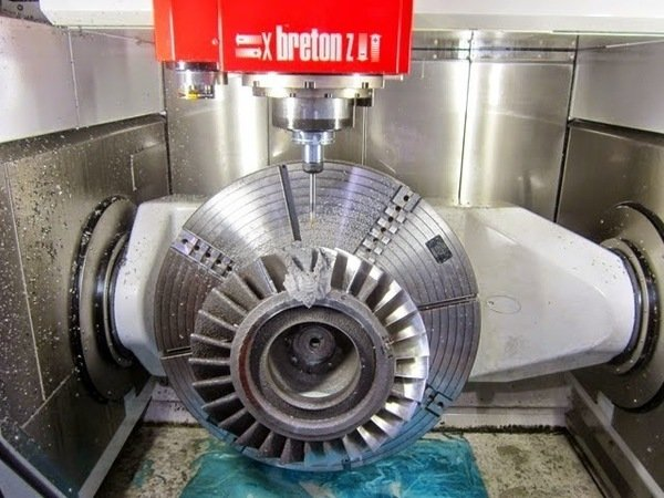Breton ultrix multipurpose 5 axis cnc vertical machining centre with blisk