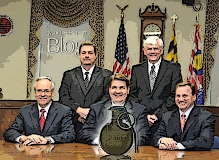 Blaine Young and the grenade in winchester hall of Frederick County Government