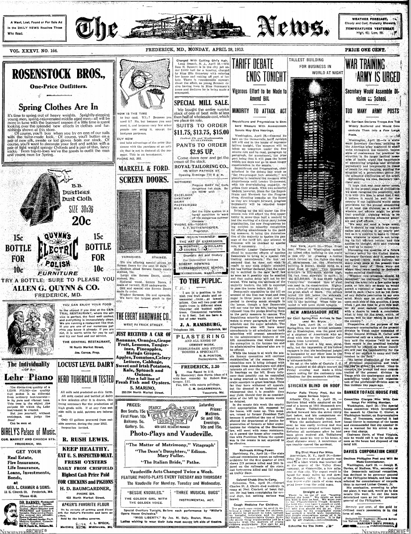 Frederick News 04/27/1913 Frederick Maryland
