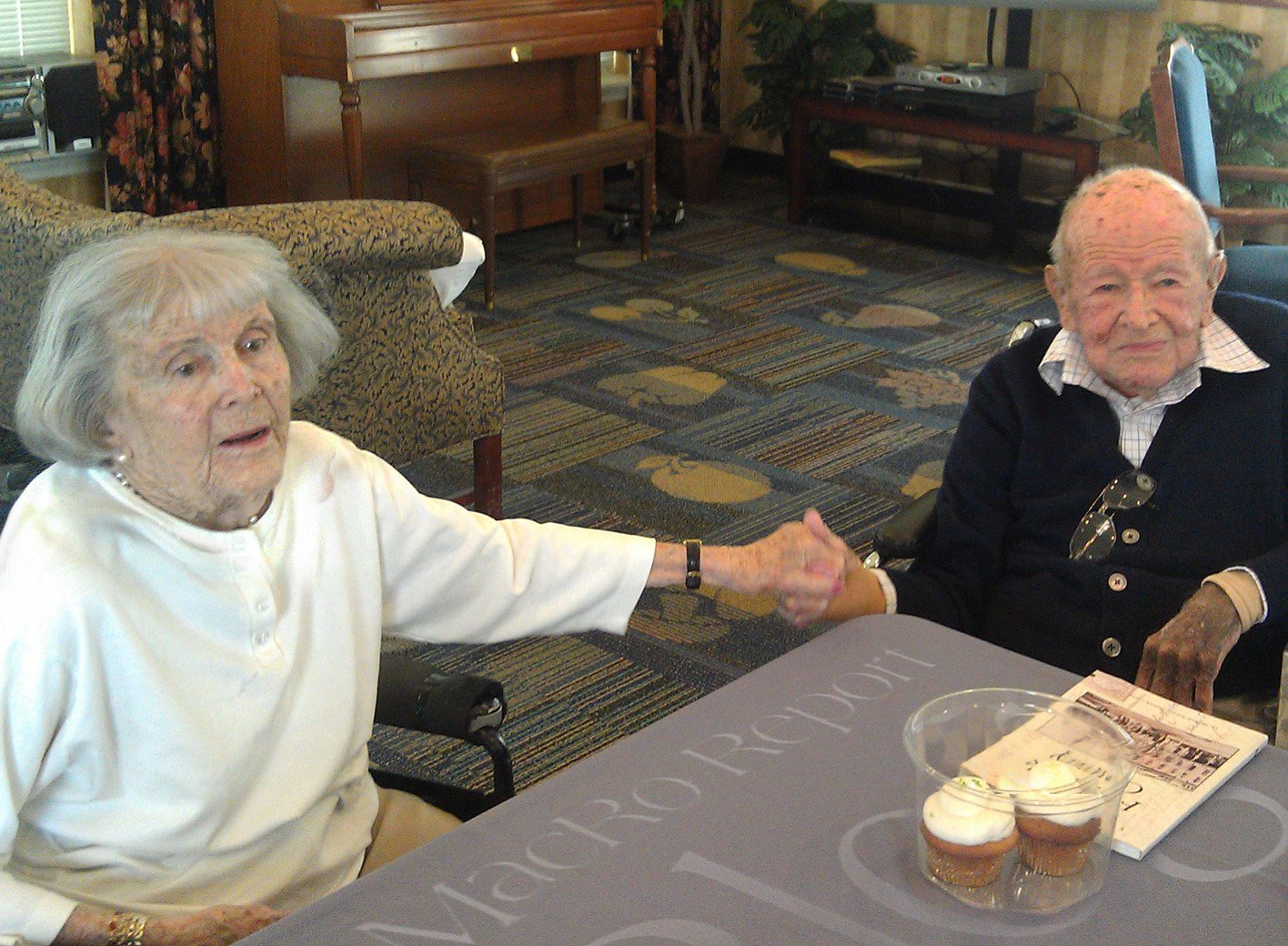 Harriette with husband Robert Ritchie on his 100th birthday