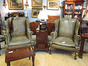 zane moss antiques new york city offered this pair of 19thcentury leather wing chairs for the pair a 19thcentury english tea tin made into a lamp