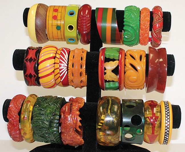 Showing a small sample of the 100s of Vintage Bakelite bangle bracelets