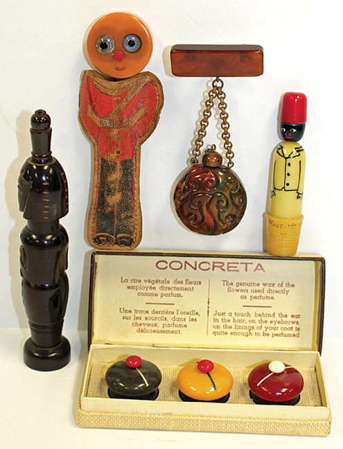 Wonderful vintage Bakelite utilitarian items including a figural wine opener & sewing kit, plus perfumes