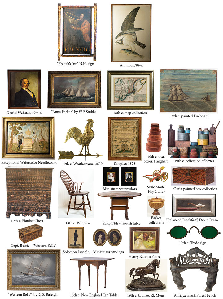 Estate collections include artwork, oil paintings (36), bronzes, prints, pastels, (Audubon, lg. folio, Bien), maps (10), Black Forest carvings, Folk art (18th c. N.H. Tavern sign), miniature paintings, weathervanes, sailor carvings, ship paintings, painted furniture, 90+ boxes (Hingham, etc.), samplers (10), stoneware (28) and redware (16), baskets (25), decoys, lighting coll., 18th & 19th c. furn., sideboard, lolling chair, banjo clock, barometer, coin silver, Windsor chairs, blanket boxes (10), shoe foot oval top hutch table, etc., early china. [Note: S. Shore Historical pcs. from Hingham (Solomon Lincoln), Marshfield/Scituate, North River painting, Daniel Webster items, etc.]