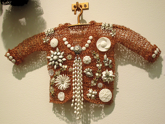 Artist Donna Rosenthal (b. 1950) comes from a family of store display designers and jewelers. Seen here is 50's Love, crocheted metal, 17