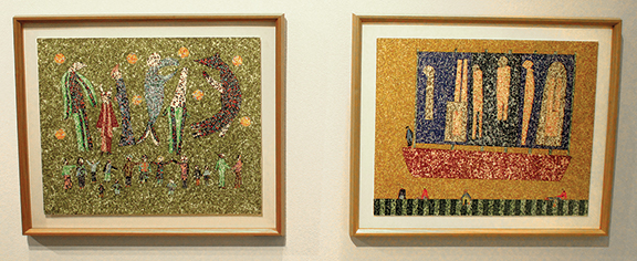 Two works by Paul Edlin (1931-2008) were displayed at the booth of Andrew Edlin Gallery, New York City. Say Cheese, 1999, and Siblings, 1997, are both postage stamp fragments on board, 16