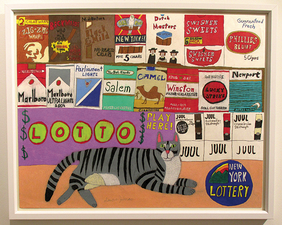 New York City Bodega Cat #1 by Simone Johnson (b. 1971), ink and colored pencil on paper, was available from Pure Vision Arts, New York City, tagged $2500. It is one in a series of bodega cats by the artist.