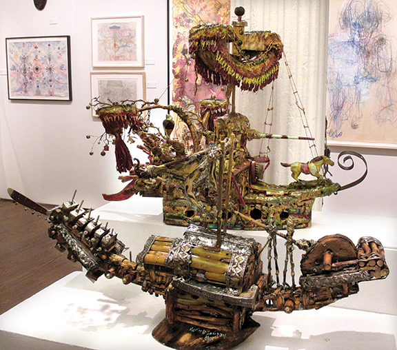 Cavin-Morris Gallery has shown work by Kevin Sampson (b. 1954) for the last few years. Seen here is Shogun, 2020, mixed media and found objects, priced at $4000.