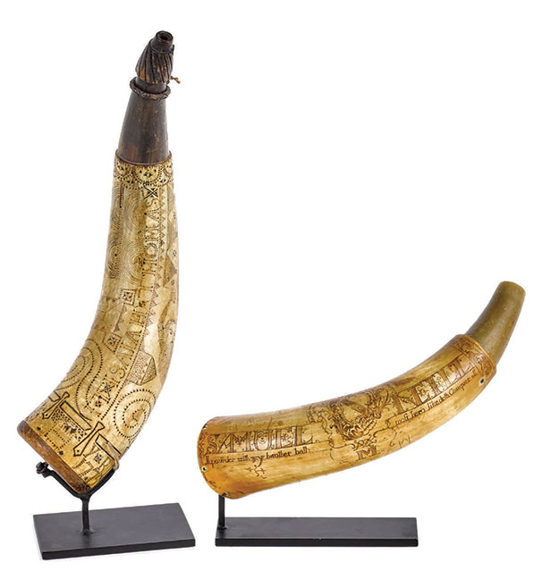 Revolutionary War powder horn belonging to Isaiah Thomas, dated 1775 and a French and Indian War powder horn, attributed to Jacob Gay (1758-1787)