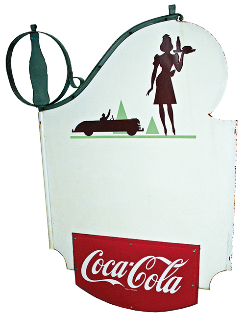 Coke sign - Large with waitress, car in background