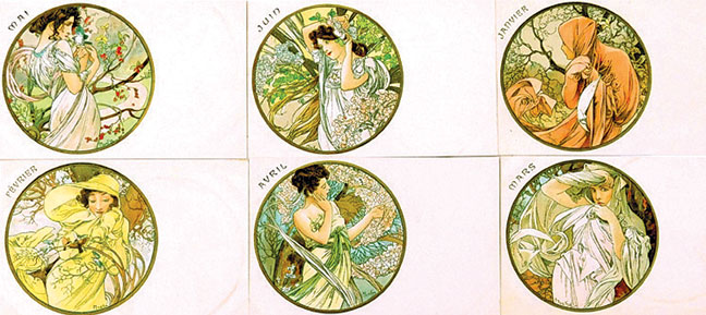 A. Mucha, 12 les Mois & other p. cards