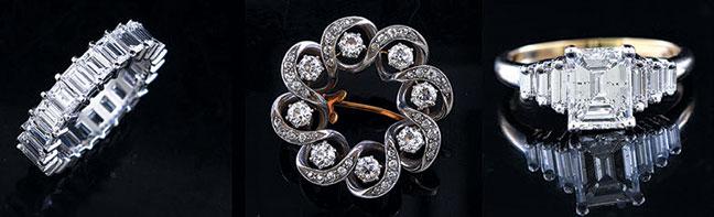 Good selection of antique diamond jewelry