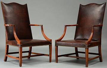 An Important Pair Of Curly Maple Federal Lolling Chairs
