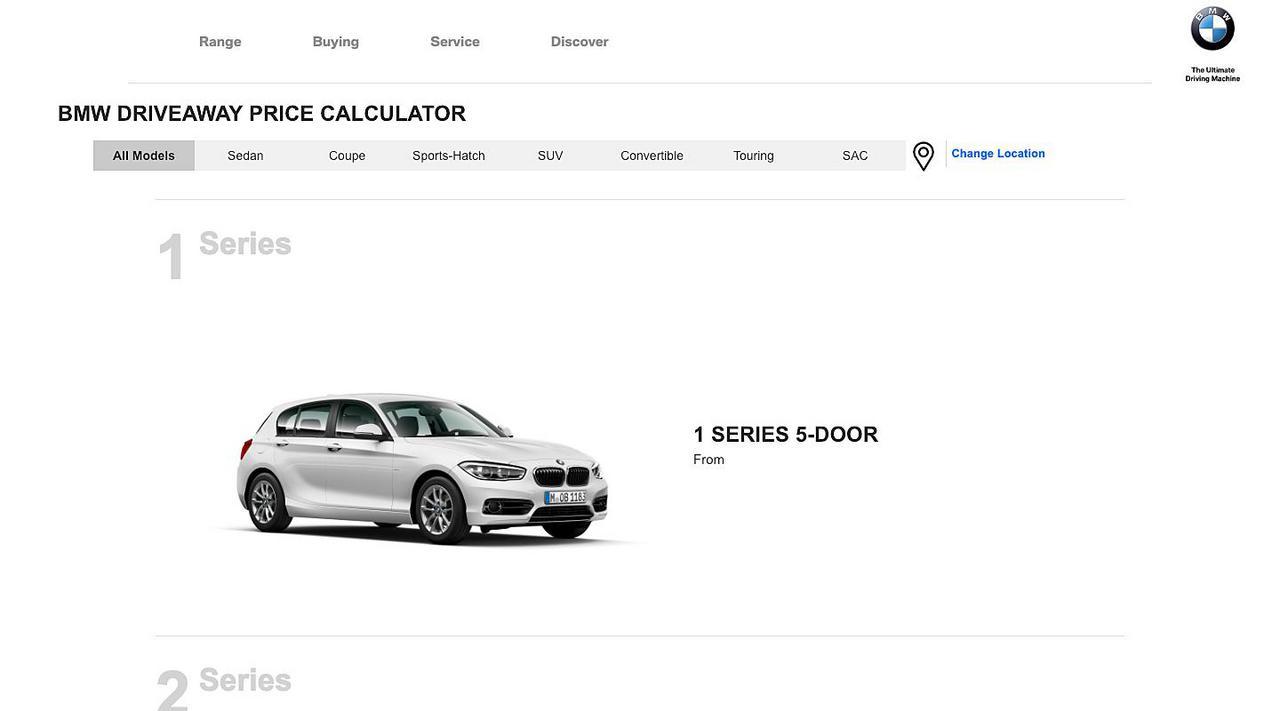 BMW Driveaway Price Calculator