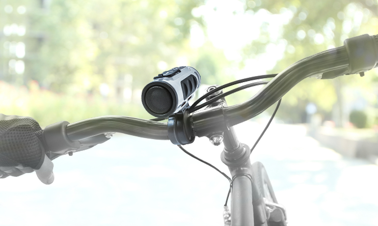 Bicycle Handlebars showing Bluetooth Speaker