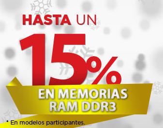 HASTA 15% EN MEMORIAS RAM DDR3