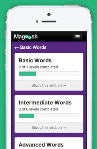 Basic, Intermediate, and Advanced vocabulary sections