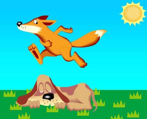 FoxJumpingDog