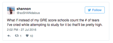 tweet: what if instead of GRE scores schools count the # of tears I've cried while attempting to study