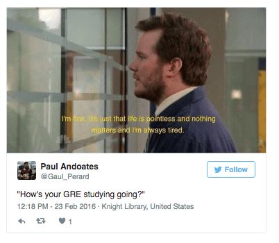 Tweet: How's Your GRE Studying Going? Chris Pratt