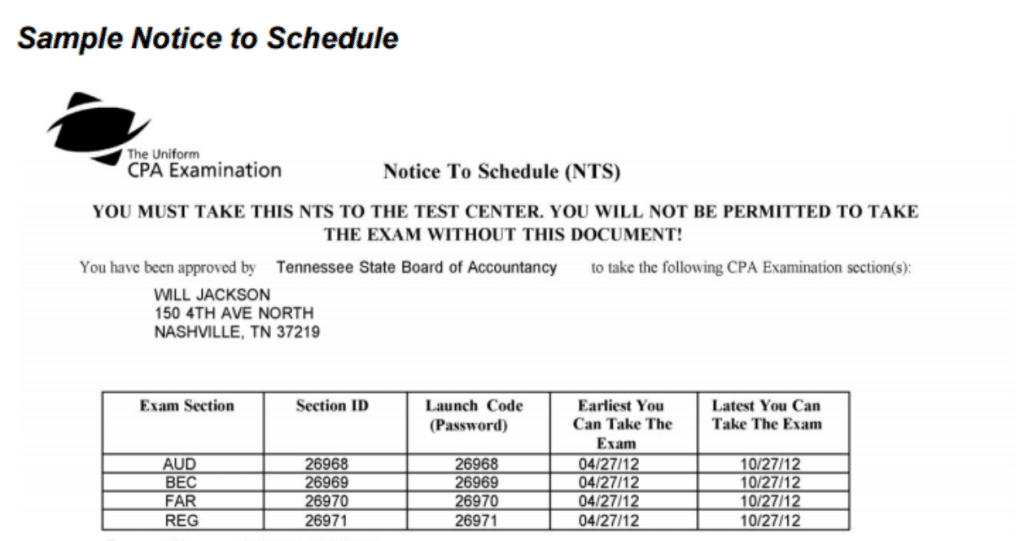 Sample Notice to Schedule