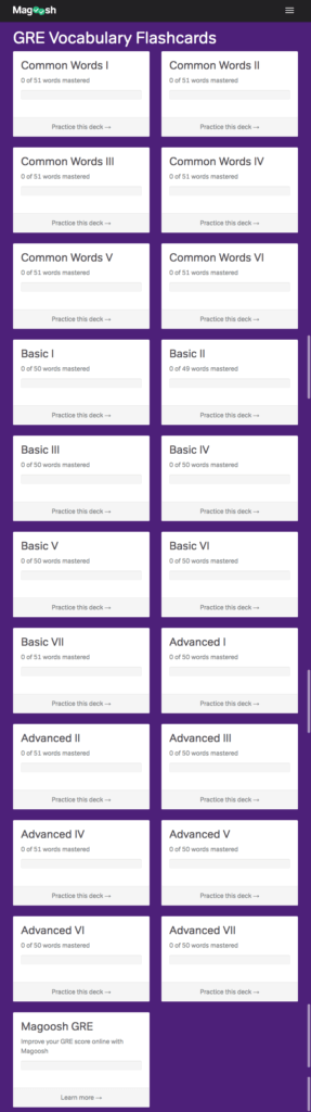 free GRE flashcards from Magoosh