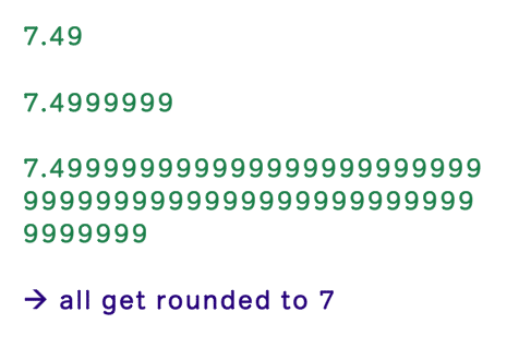 round to the nearest integer example with 7