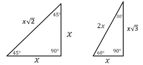 special right triangles 45-45-90 and 30-60-90