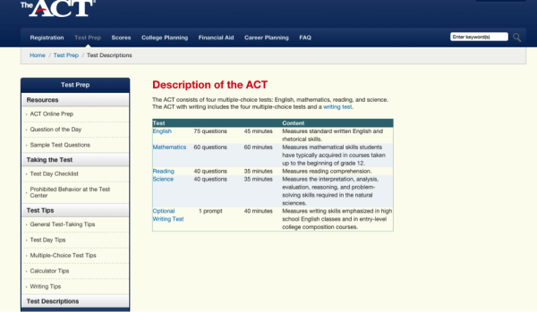 ACT website screenshot-magoosh