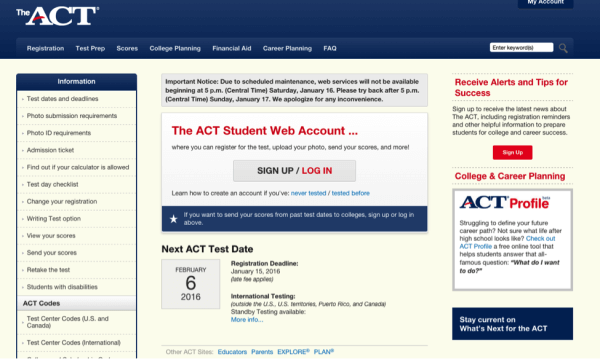 ACT website homepage screenshot-magoosh