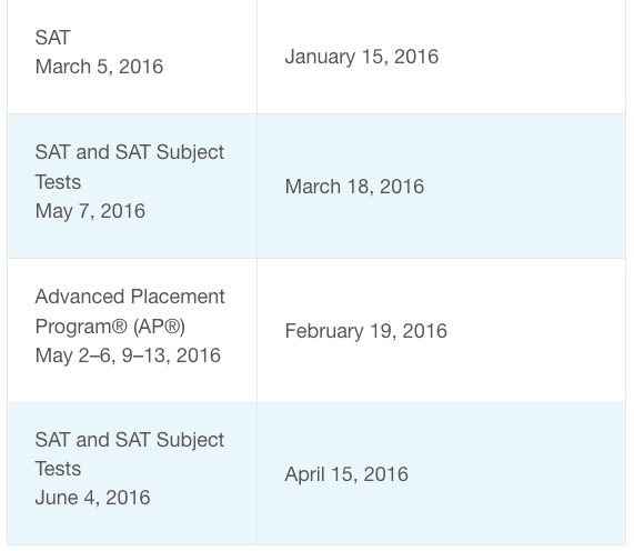 SAT Accommodations for Disabilities Calendar