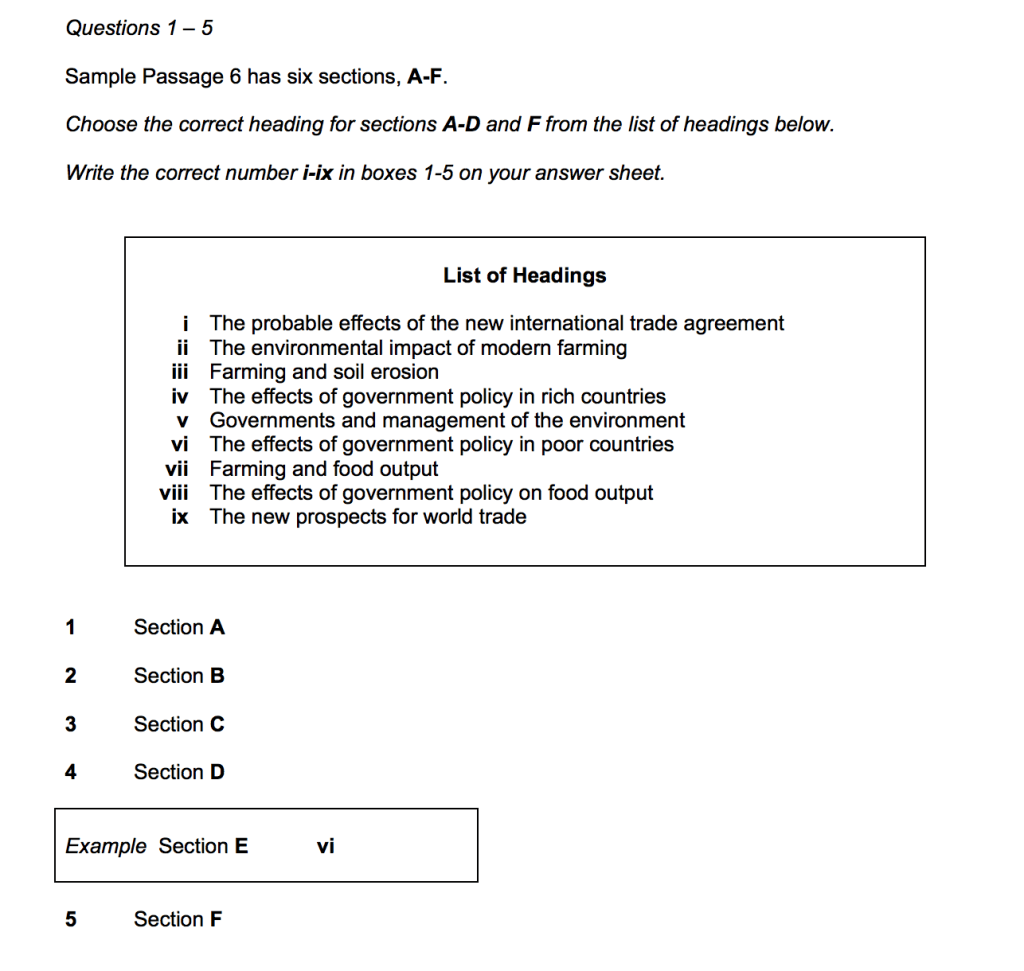 IELTS Sample Reading Test