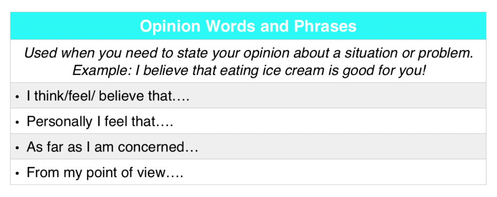Opinion Linking Words and Phrases