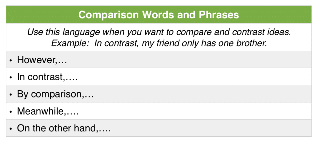 Comparison Linking Words and Phrases