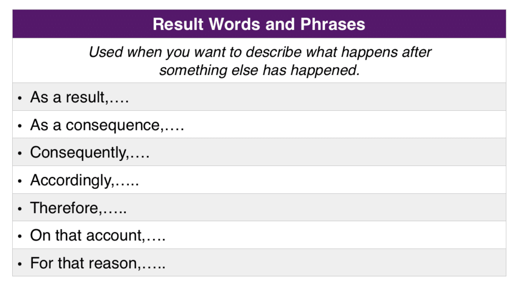 Result Words and Phrases