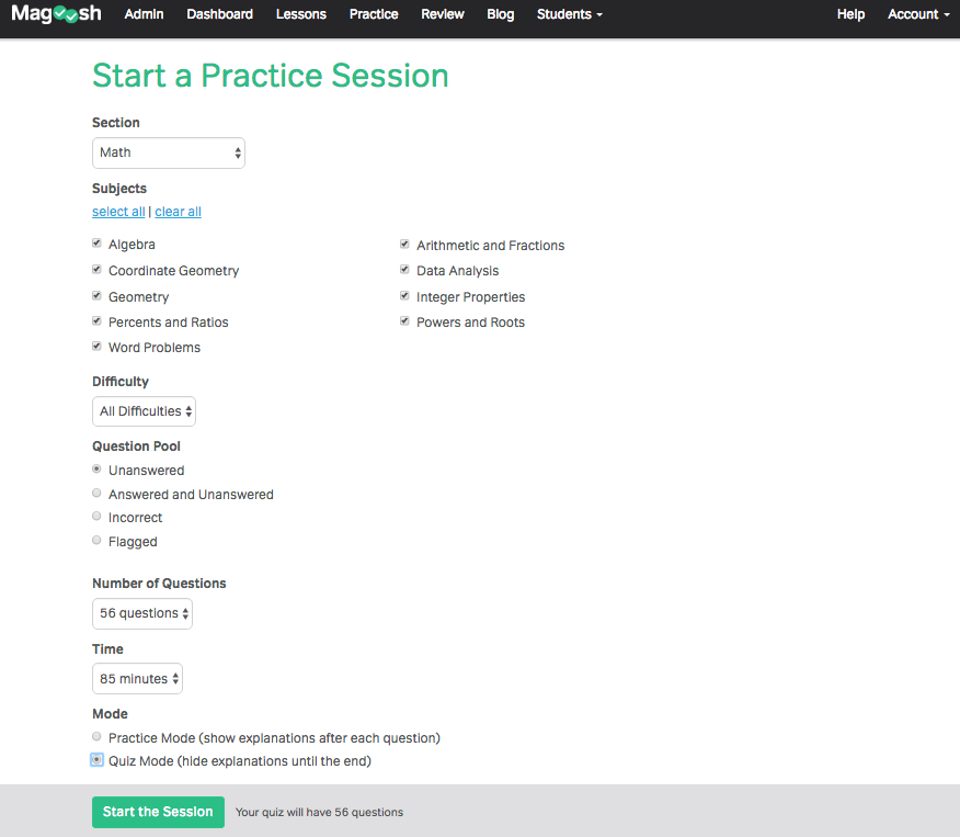 Praxis Practice Test from Magoosh