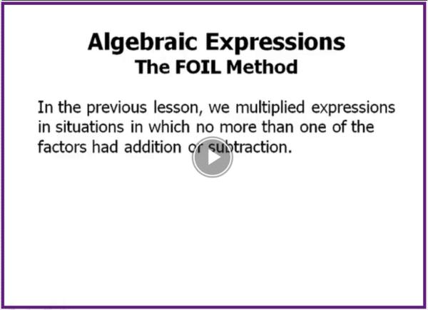 ACT math topics FOIL method