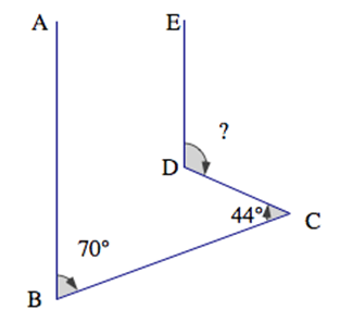 four line segments, AB parallel to ED