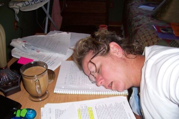 student fell asleep studying on the night before the AP exam.