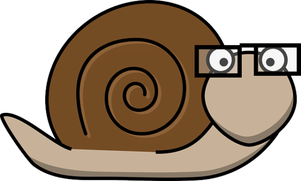 Snail with glasses.  (License: Public Domain CC0)