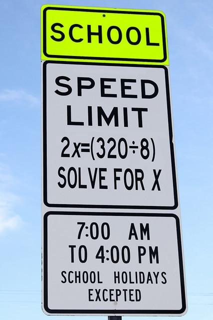 speed limit sign in mathematics