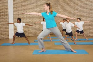 start class by doing yoga with students