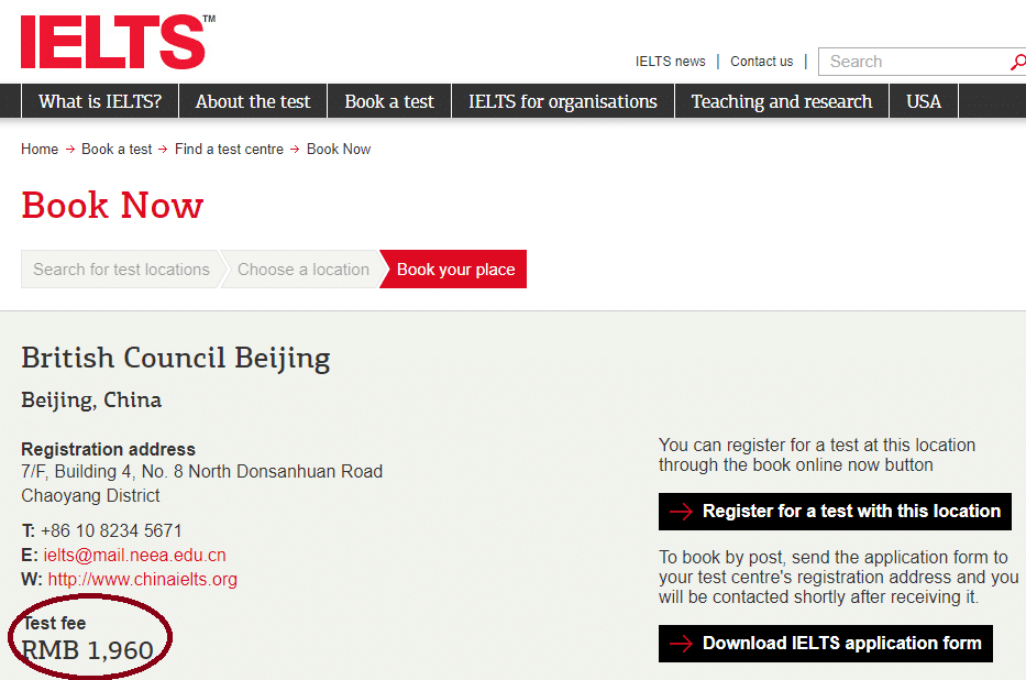 IELTS registration: finding your IELTS fee, step 4 -- Magoosh