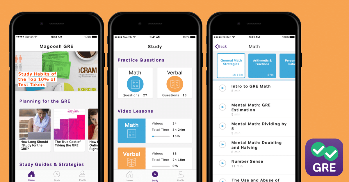 GRE Prep App Screens